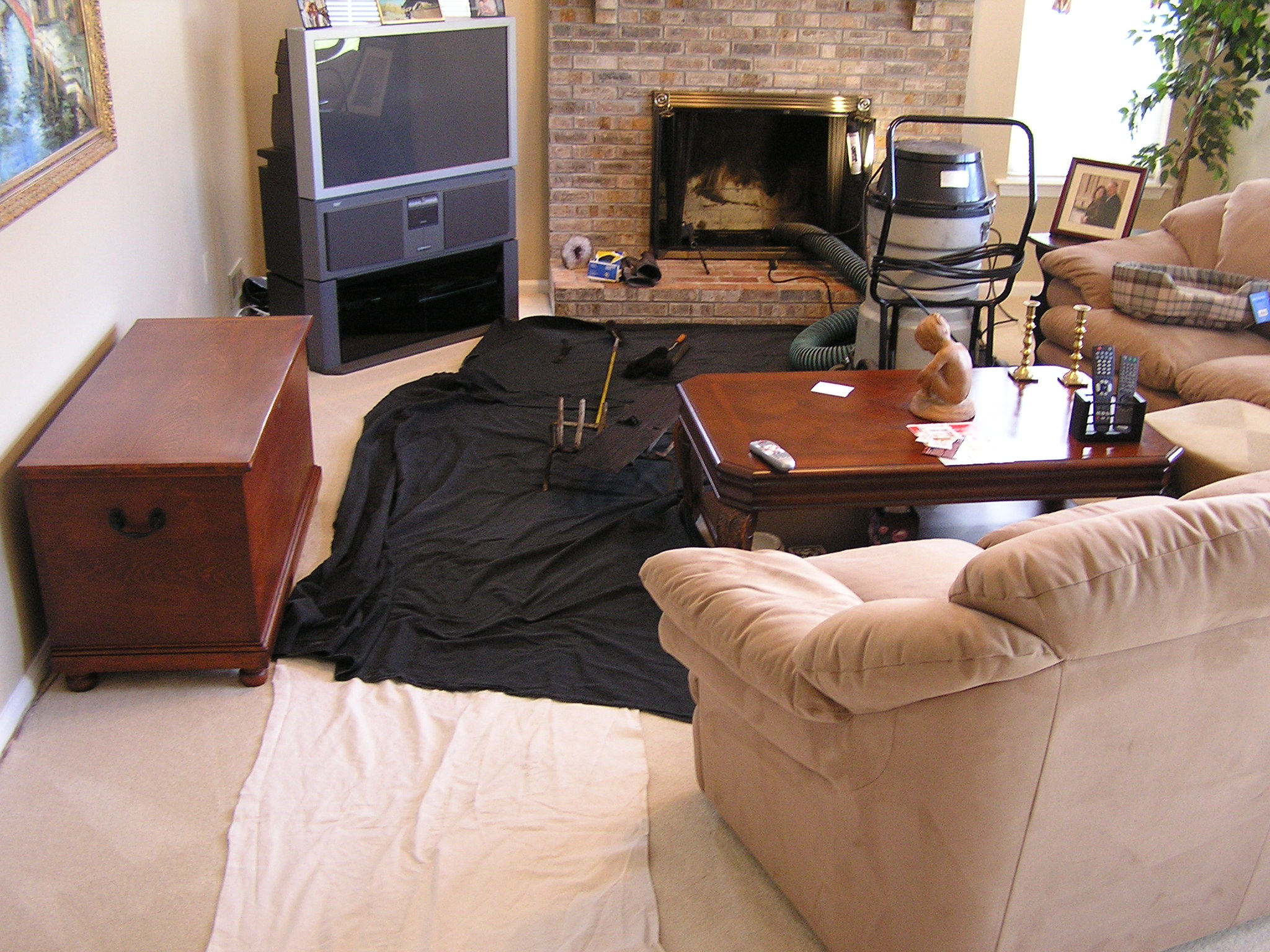 Floor protection is used from where we enter your home to the service are.  Keeps your home clean and protected.
