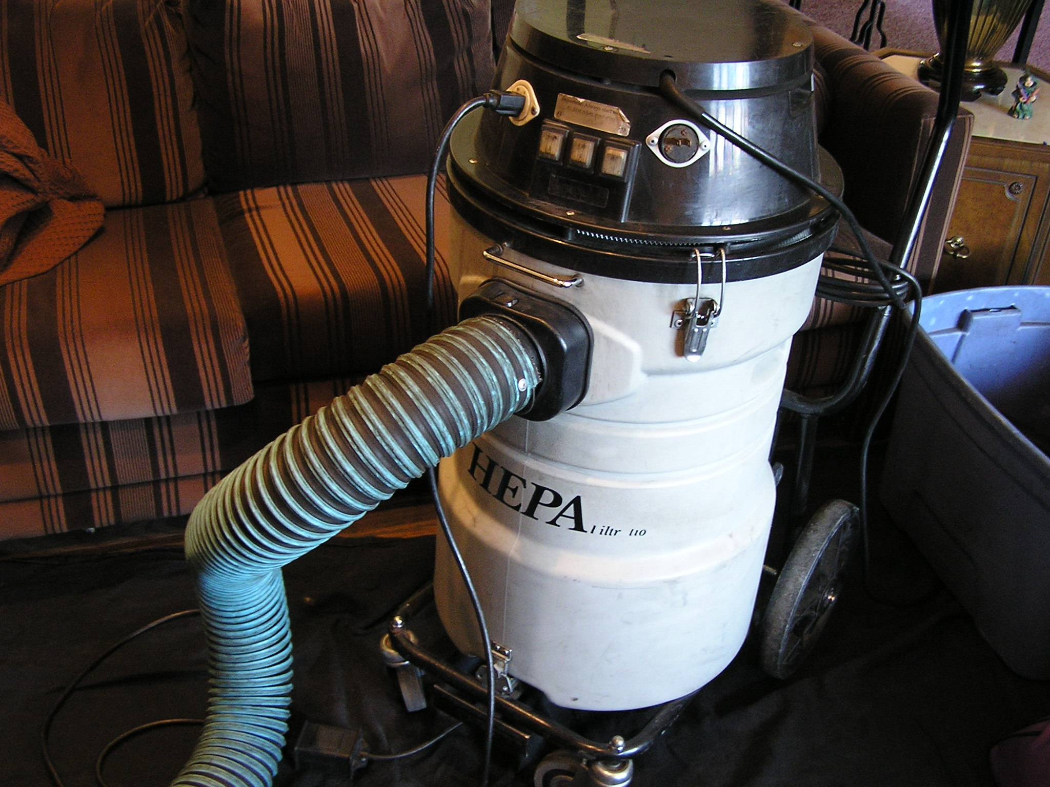 Hepa filer vacuum used during the sweeping process.  Equipped with three speed variable motor to enable us to collect all debris during the cleaning process.